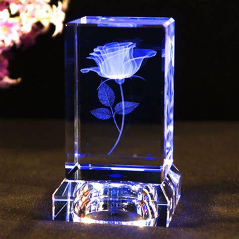 3D Laser Engraved Rose Flower Figurines Crystal Glass Cube
