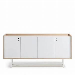 Buffet Scandinave Blanc Et Bois : buffet design scandinave bois blanc mat 170x80 celia by drawer ~ Teatrodelosmanantiales.com Idées de Décoration