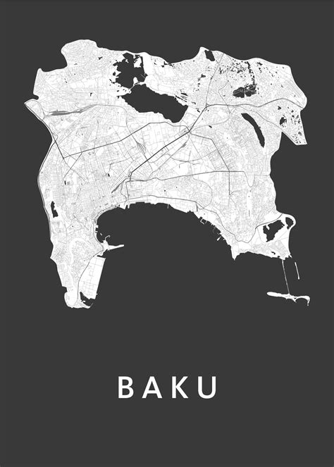 It lies on the western shore of the caspian sea on the southern side of the abseron peninsula, around the wide curving sweep learn more about baku, including its history. Baku Black Stadskaart poster | Kunst in Kaart