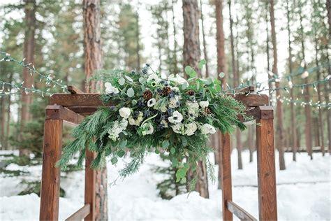 winter wedding  fivepine lodge  sisters oregon