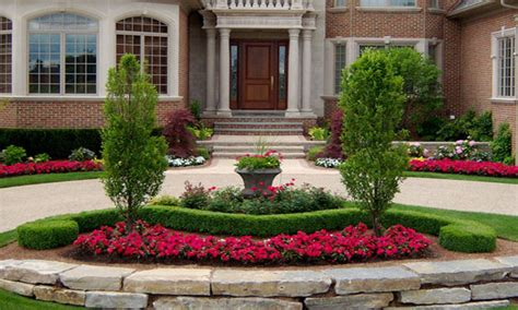 Stone Flower Beds Designs, Circular Driveway For Front