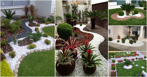 impressive ways  decorate  garden  white pebbles