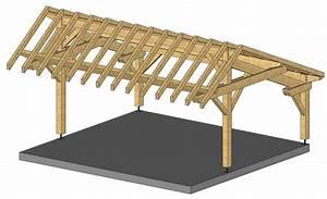 Abri voiture, Charpente traditionnelle en kit, garage ossature bois, kiosque bois, auvent bois