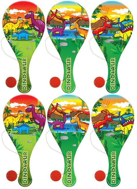 dinosaur wooden paddle bats lootparty bag fillers animalkidsbiff party bag fillers