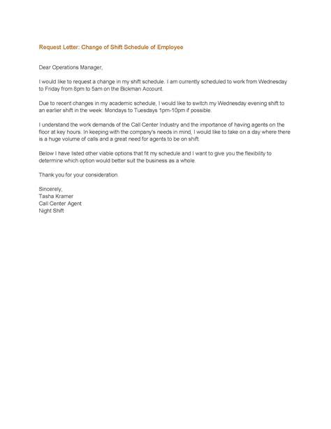 sample letter  request  change work schedule scrumps