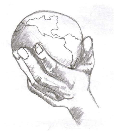 drawing hands holding  world   hands holding