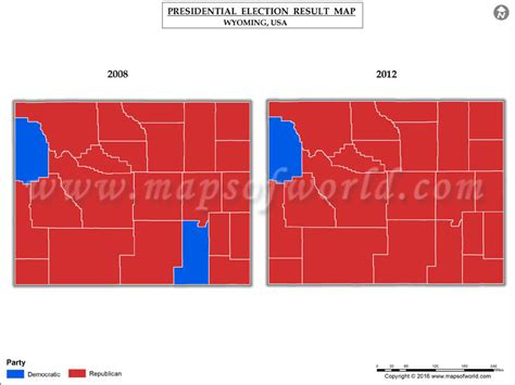 wyoming results election map presidential county 2008 elections usa vs party maps showing mapsofworld