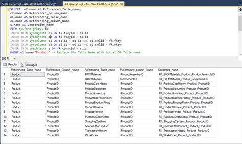 sql list all tables list primary key and foreign key relationship in database