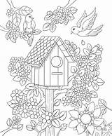Coloring Pages Birdhouse Adults Drawing Adult Printable Floral Bird Spring Freebie Bestcoloringpagesforkids Flower Colorit Books Fairy Friday Mandalas Christmas Drawings sketch template
