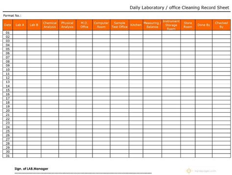 Laboratory / Office Daily Cleaning Record Sheet Format