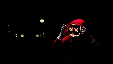 game wallpaper person wearing hoodie  neon mask