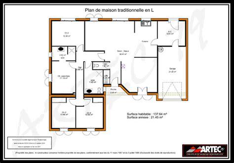 maison plain pied 4 chambres plan maison 100m2 4 chambres
