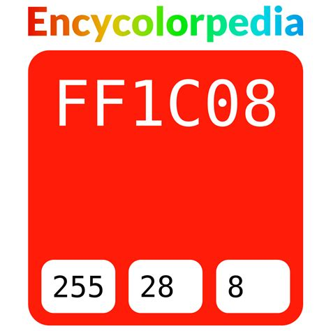 Get html color codes, hex color codes, rgb and hsl values with our color picker, color chart and html color names. #ff1c08 Hex Color Code, RGB and Paints