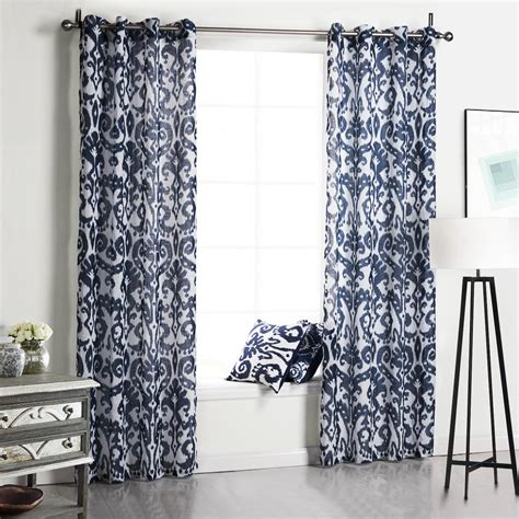 2017 blue printed floral sheer curtain fabric 100
