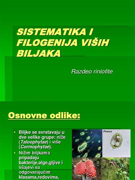 Sistematika i Filogenija Vic5a1ih Biljaka Razdeo Riniofite