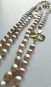 Pink Pearl Necklace   Pale pink pearls and gold orchid ...