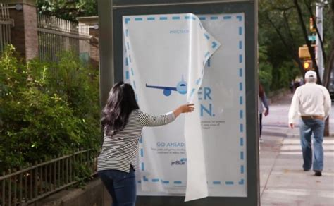 jetblue told  yorkers  steal  bus shelter ads