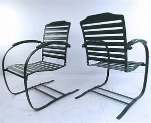 Pair Of Vintage Metal Spring Chairs  Mid