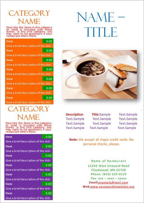 great printable food menu templates   psd