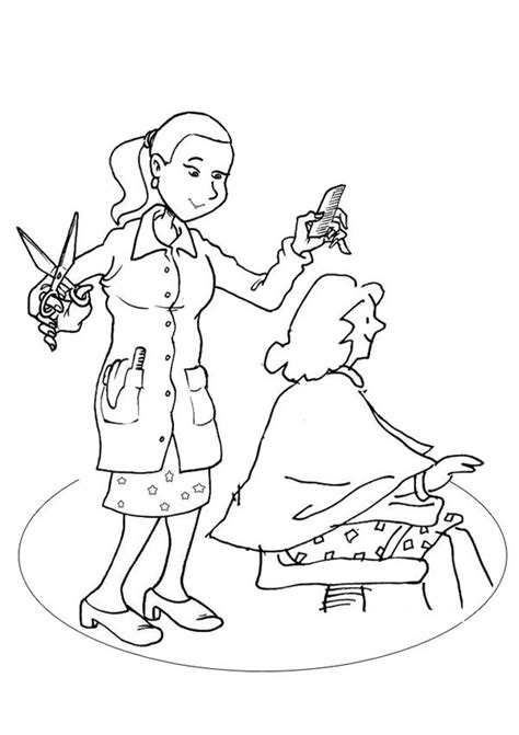 hairdresser colouring page kids activity
