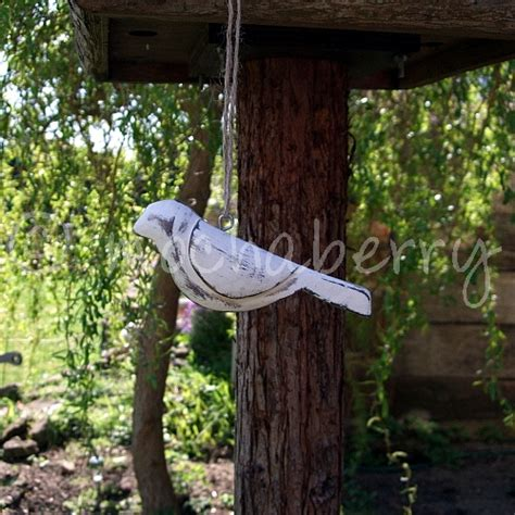 White Wooden Hand Carved Hanging Bird