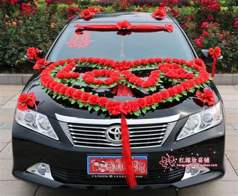 wedding car decorations car flowers heart shape bridal car
