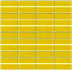 Glass Tile 1x3 Inch Bright Yellow Glass Subway Tile Stacked