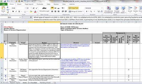 ssae  review checklist