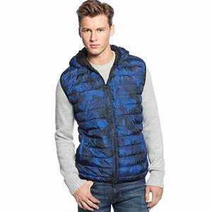 Dkny Light Weight Camo Puffer Vest In Blue For Men Blue Camo Lyst