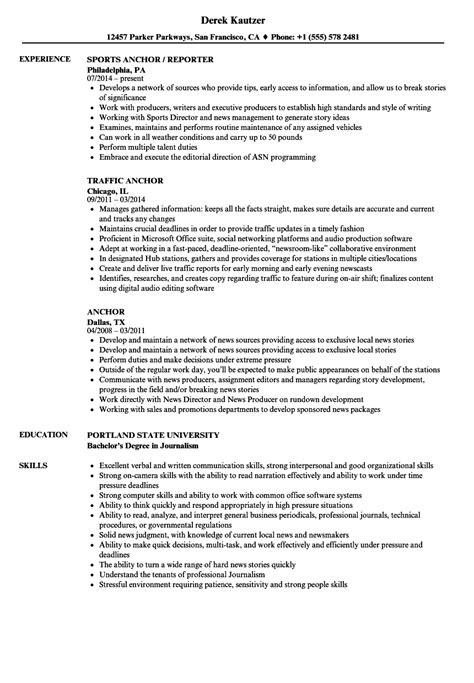 anchor resume samples velvet jobs