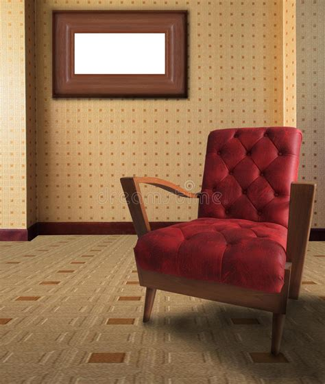 red arm chair  living room  picture frame  royalty