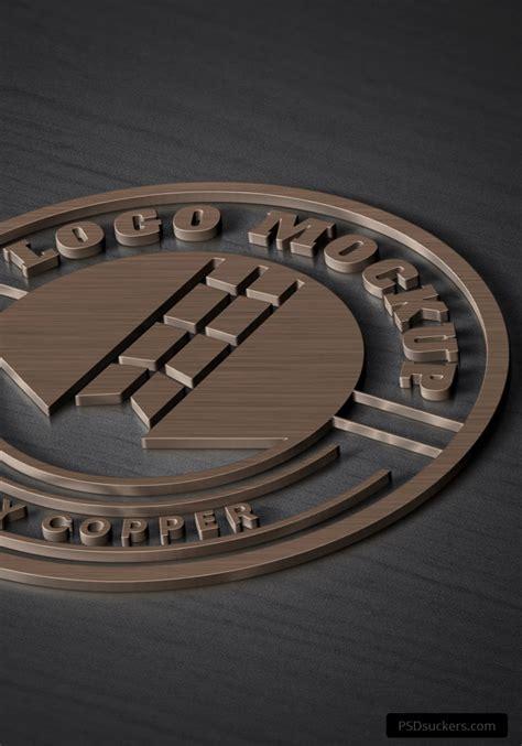 copper logo mockup psd template