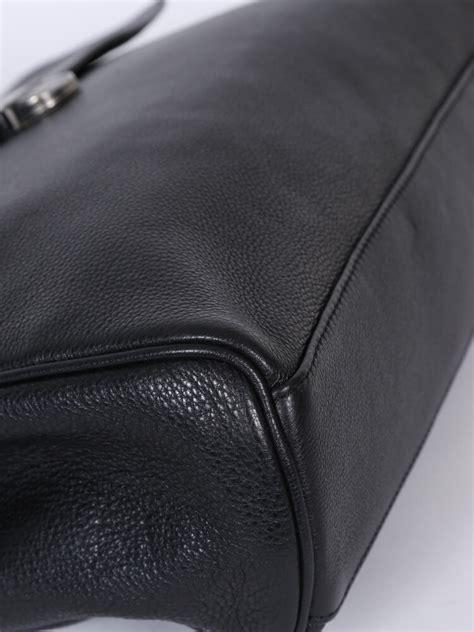 Armani Exchange Briefcase by Armani Collezioni Grained Leather Briefcase Black