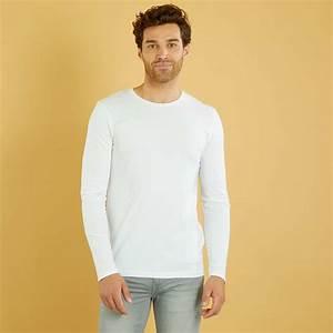 Kiabi T Shirt Homme : maglia tinta unita maniche lunghe uomo bianco kiabi 2 40 ~ Nature-et-papiers.com Idées de Décoration