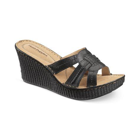 Scotty Slide Hush Puppies hush puppies 174 danube slide platform wedge sandals in black