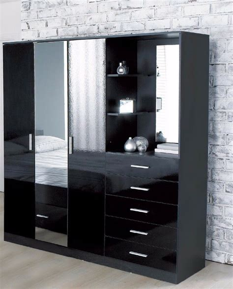 Wardrobe With Dressing Unit by Brand New Carleton High Gloss Mirrored Combi Unit Black