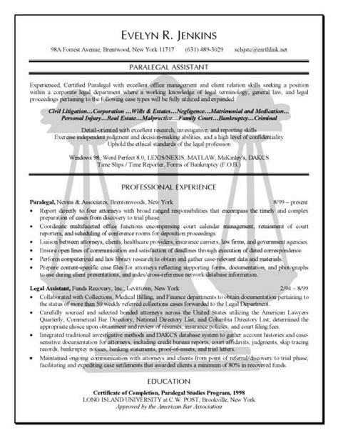 Paralegal Resume Template by Paralegal Assistant Paralegal Sle Resume