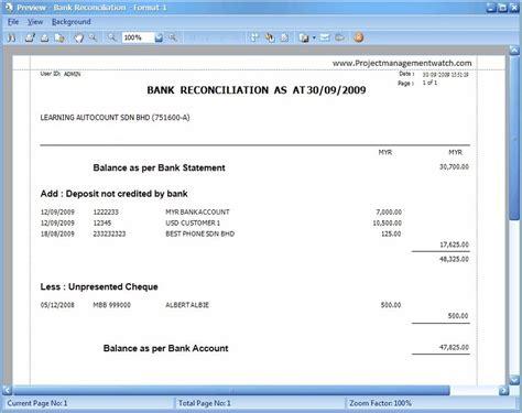 bank reconciliation statement templates  excel