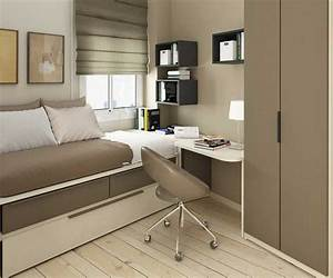 light brown small bedroom ideas with single bed with With bed with study table design