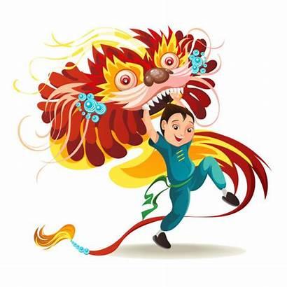 Chinese Dance Cartoon Dragon Clip Lunar Vector