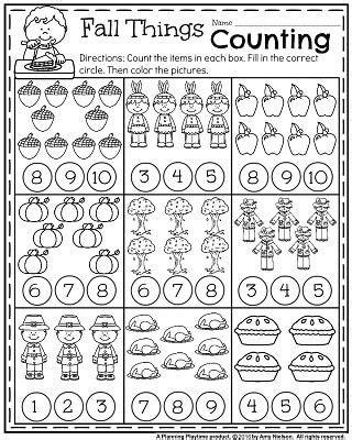 fall kindergarten worksheets for november ty learning