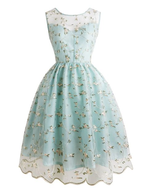 Retro Look by 1950s Floral Embroidery Lace Dress Retro Stage Chic