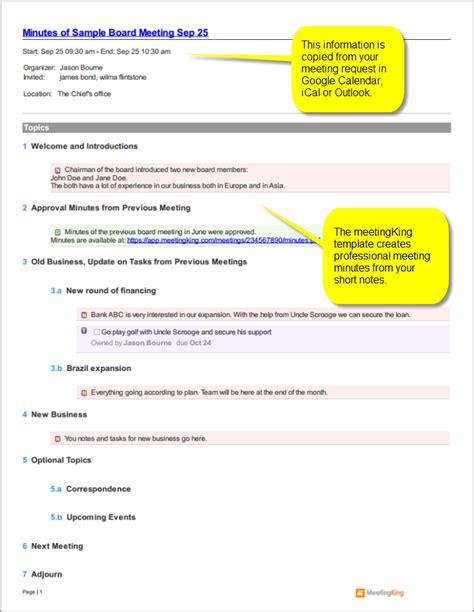 board minutes template sle board meeting minutes template