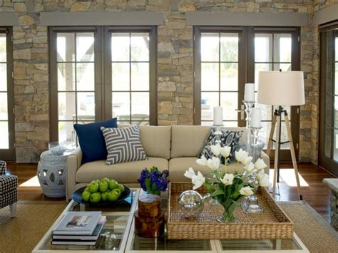Blue Beige Brass Living Room
