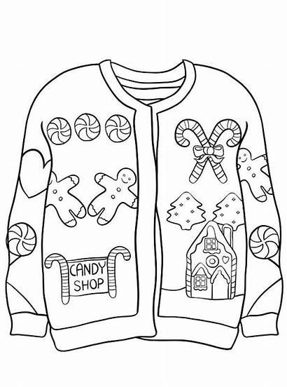 Ugly Sweater Jumper Coloring Foute Kerst Kersttrui