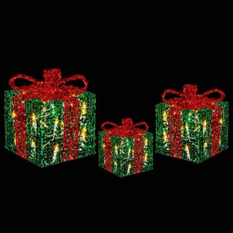 light up gift boxes 3 x festive glittery light up gift boxes christmas