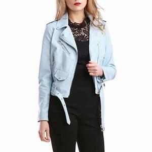 Veste Style Motard Femme : veste courte bleu clair style motard femme pas cher la modeuse ~ Melissatoandfro.com Idées de Décoration
