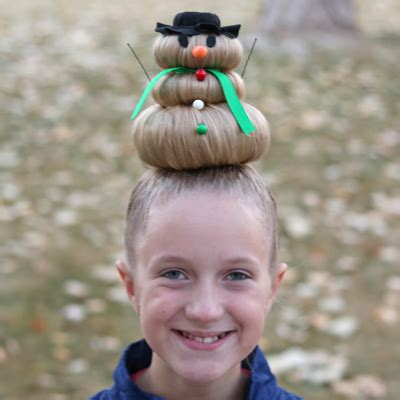 snowman hairstyle  crazy hair day  christmas