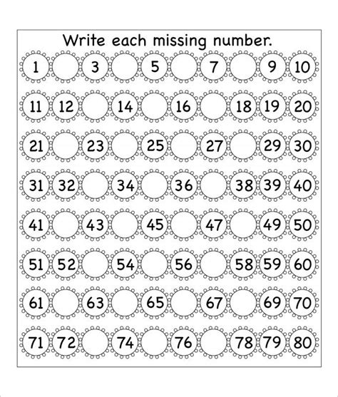 flowers missing numbers worksheet template english class