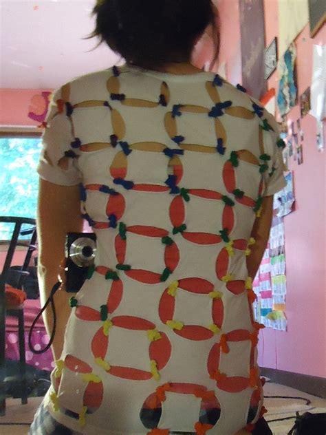 rainbow shirt     revamped  shirt  sew